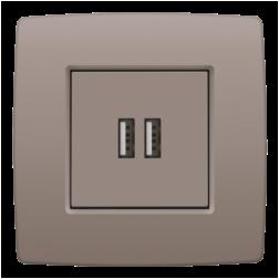 Centraalplaat USB-lader Greige 104-68001