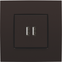 Centraalplaat USB-lader Dark Brown 124-68001