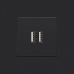 Centraalplaat USB-lader Black Coated 161-68001