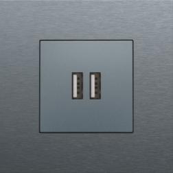 Centraalplaat USB-lader Alu Grey Coated 220-68001